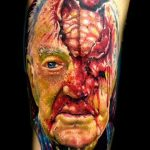 Tatouage hommage grand pere en version zombie par josh woods