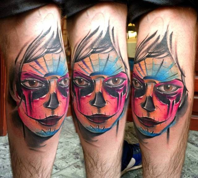 Tatouage homme visage catrina version stylisee de bam bam