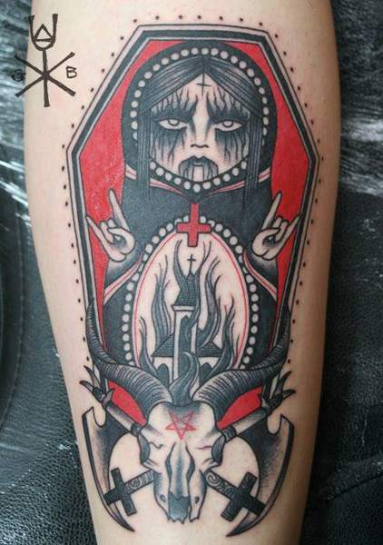 Tatouage matriochka style satanique par gemma b