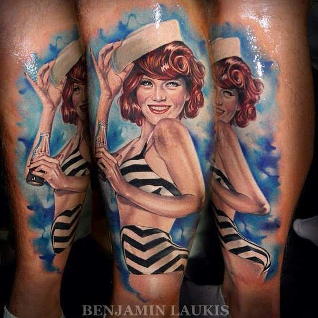 Tatouage pin up marin par benjamin laukis