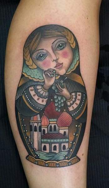 Tatouage poupee russe par alex la main bleue